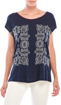 Lucky Brand Mirrored Embroidered Tee