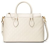 Gucci Small Top Handle Signature Leather Satchel - White