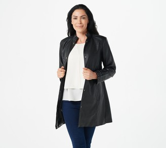 Dennis Basso Faux Leather Coat with Scalloped Cuffs