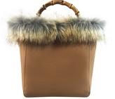 Un Billion UN Billion Faux Fur Bamboo Handle Bucket Bag -Sandra