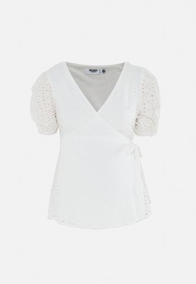 Missguided White Broderie Puff Sleeve Wrap Maternity Top