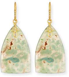 Armenta Old World Aquaprase Slice Earrings with Diamonds