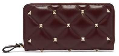 Valentino Candystud Leather Zip Around Wallet - Womens - Burgundy