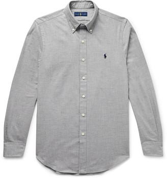 Polo Ralph Lauren Slim-Fit Button-Down Collar Melange Cotton-Flannel Shirt