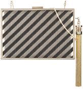 Monique Lhuillier tassel detail striped minaudière
