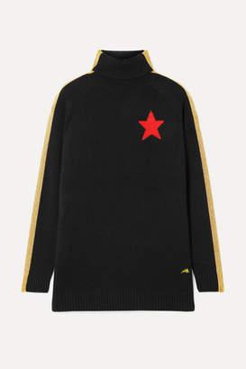 Bella Freud Billie Jean Striped Wool-blend Turtleneck Sweater - Black