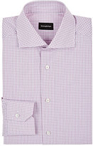 Ermenegildo Zegna Men's Checked Cotton Shirt-PINK, WHITE