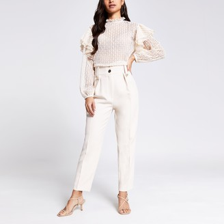 River Island Womens Petite Cream tab waist peg trousers