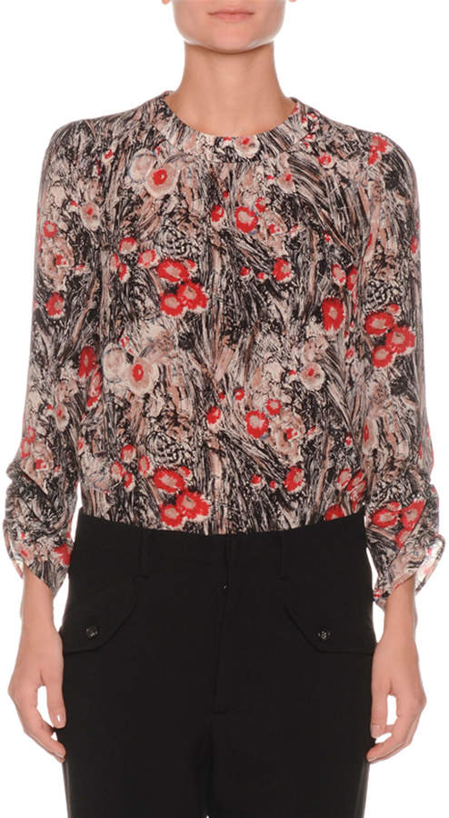 No.21 No. 21 Floral-Print Ruched-Sleeve Silk Blouse