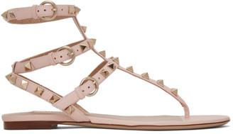 Valentino Pink Garavani Rockstud Caged Sandals