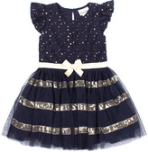 Little Lass Gold & Navy Stripe A-Line Dress - Toddler & Girls
