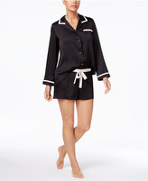 Kate Spade Contrast-Trimmed Charmeuse Top And Shorts Pajama Set