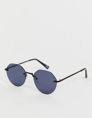 Asos Design DESIGN rimless angled sunglasses in black