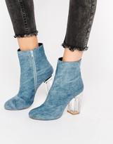 Public Desire Cheryl Blue Clear Heel Ankle Boot