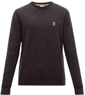 Burberry Declan Tb Embroidered Merino Wool Sweater - Mens - Black