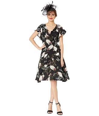 Unique Vintage 1940s Crane Print Luella Wrap Dress