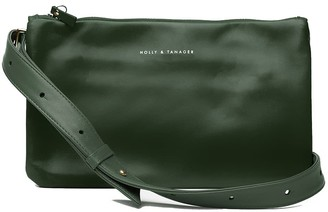Holly & Tanager Companion Mini Leather Crossbody Clutch In Emerald
