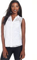 Style&Co. Top, Sleeveless Lace Button-Down Shirt