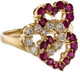 Ring Ruby & Diamond Interlocking Hearts
