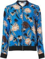 Blue Floral Print Bomber Jacket