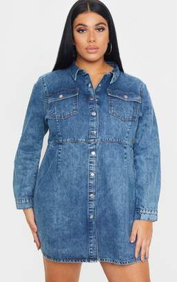 PrettyLittleThing Plus Mid Wash Denim Button Front Shirt Dress