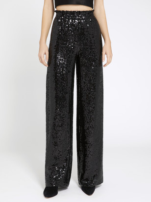 Alice + Olivia Elba Black Sequin Wide Leg Pant