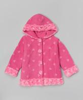 Paperdoll Hot Pink Heart Fleece Hooded Coat - Toddler & Girls