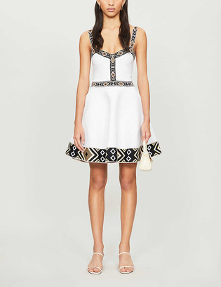 Maje Relief geometric-trim stretch-jersey mini dress