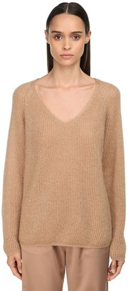 Max Mara Ribbed V Neck Mohair Knit Lurex Sweater