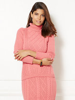 New York & Co. Eva Mendes Collection - Mixed-Stitch Turtleneck Sweater - Petite