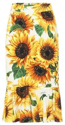Dolce & Gabbana Sunflower silk-charmeuse midi skirt