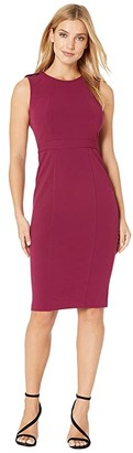 Donna Morgan Epaulette Detail Stretch Crepe Sheath Dress (Mulberry) Women's Dress