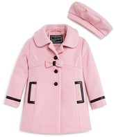 Rothschild Girls' Faux Leather Trimmed Melton Coat & Beret Set - Sizes 2-4T