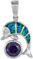 Sabrina Silver Sterling Silver Amethyst CZ Dolphin Pendant Synthetic Opal Inlay Cubic Zirconia Accent, 7/8 inch