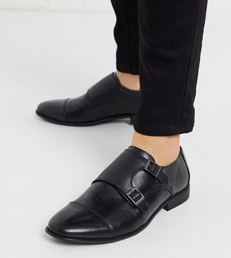 Asos Design ASOS Wide Fit monk shoes in black faux leather with emboss panel