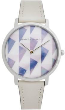 Rebecca Minkoff Women's Major Optic White Leather Strap Watch 35mm