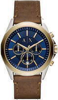 Armani Exchange Men's Chronograph Drexler Brown Leather Strap Watch 46mm