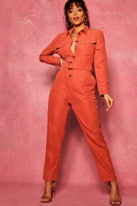 boohoo Suedette Utility Cargo Belted Jumpsuit