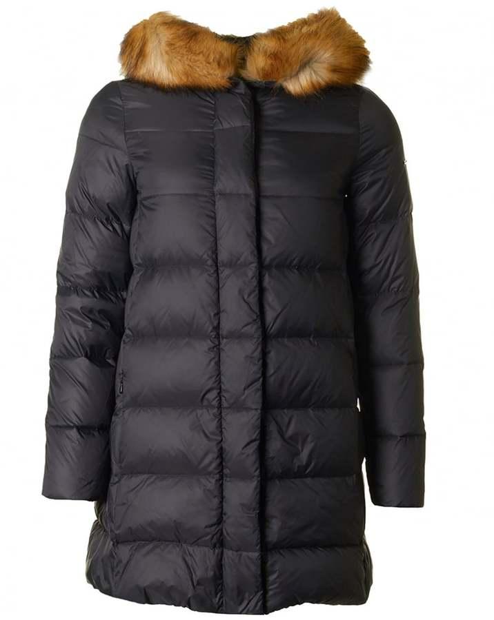 Armani Jeans Fur Trim 3\/4 Length Puffa Coat