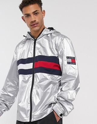 Tommy Jeans metallic capsule flag chest hooded jacket in metallic-Silver