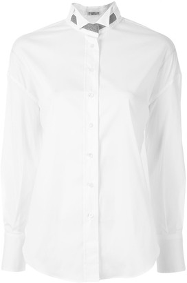 Brunello Cucinelli Bead Collar Long-Sleeve Shirt