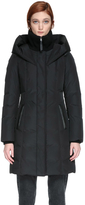 Leandra Mid Length Winter Down Coat With Leather