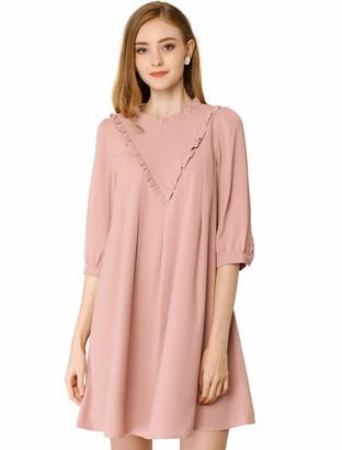 Allegra K Women's Ruffle Casual Round Neck Loose Shift Tunic Dresses T Shirt Dress M Pink