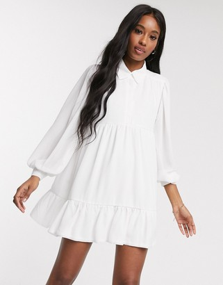 In The Style x Jac Jossa button through swing shirt dress in white