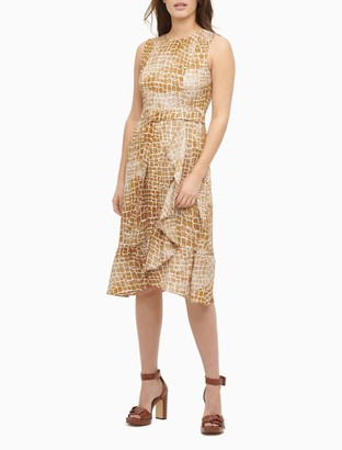 Calvin Klein Printed Belted Sleeveless Ruffle Dress