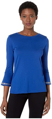MICHAEL Michael Kors Embroidered Chain 3/4 Sleeve Top (Twilight Blue) Women's Clothing