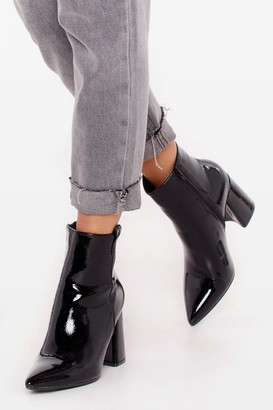 Nasty Gal Womens Your Love Shines On Patent Faux Leather Boots - Black - 3