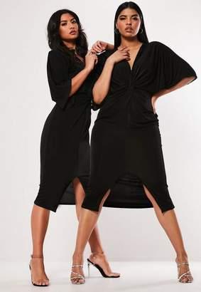 Missguided Plus Size Black Slinky Kimono Midi Dress