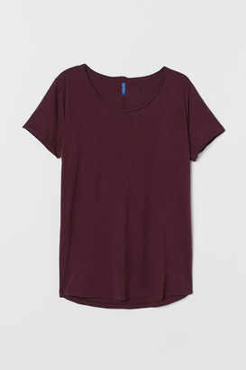 H&M Raw-edge T-shirt - Red