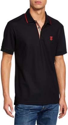 Burberry Men's Icon Stripe-Placket Polo Shirt, Black